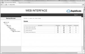 CloudBackup web interface